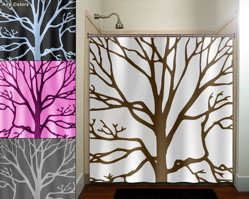 brown tree branches shower curtain bathroom decor fabric kids