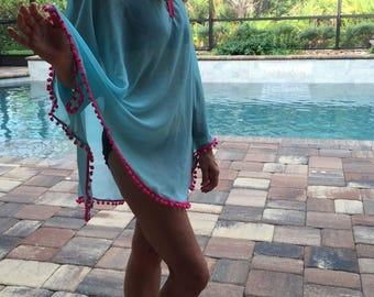 Sale, Boho aqua, pom pom coverup, swimsuit, bathing suit. fuchsia, hot pink, small, ladies, women's, teens, boho, summer, beach