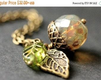 SUMMER SALE Autumn Frost Acorn Necklace. Crystal Acorn Necklace. Acorn Charm Necklace in Bronze. Handmade Jewelry.