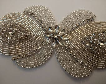 Beautiful Rhinestone Applique. Gatsby Style Applique.