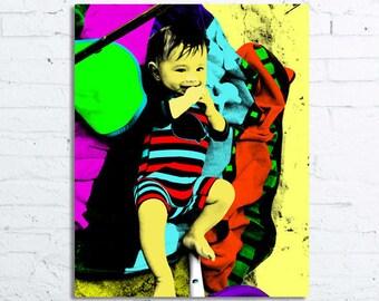 Custom baby portrait, Baby portrait, Baby art, Nursery Art, Pop art