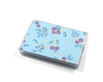 Card Case Mini Wallet Light Blue Vine