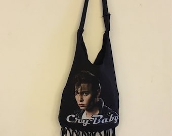 Crybaby repurposed tshirt boho bag