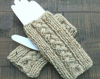 Handmade knit fingerless gloves in beige fleck with braided cable, knit arm warmers, knit wrist warmers, knit texting gloves, beige gloves,