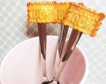 100% Breton cookie spoon, Brittany, Gwenn, Breizh ha. polymer clays: Fimo, sculpey, cernit)