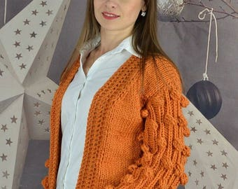 Women's cardigan, knit Bomber, Orange Cardigan, knitted cardigan, spring cardigan, knit jacket, cardigan for sister, cardigan for mom