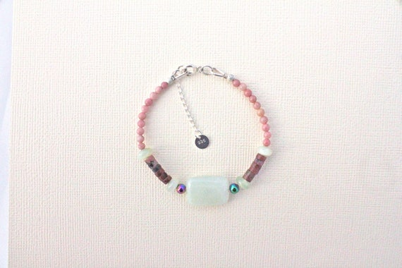 Bracelet pierres fines et argent 925 : new jade, hématite rainbow et rhodonite