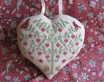 Love Bird Tree – Dutch counted cross stitch chart to work in 4 colours of thread. Heart shape cross stitch. Flowers, Garden, Birds. Heart.
