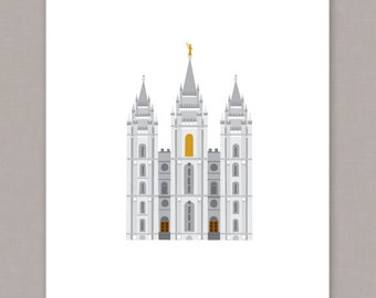 "PRINTABLE 8x10"" Salt Lake City Temple Poster - PDF & JPEG Digital File"