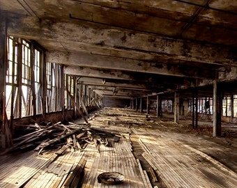 """Detroit Architecture color photography Neglected Beauty, Abandoned Building, Surreal Fine Art """"LOFTED"""""""