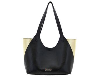 Shopper leather bag Black gold purple big Shoppingbag black Gold by Ninok
