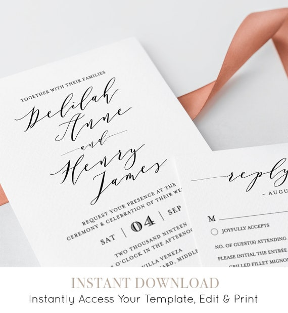Wedding Invitation Template, Instant Download, Printable, 100% Editable, Modern Calligraphy, Invite, RSVP & Detail, Templett #037