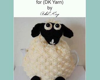 Knitting Pattern PDF Document Delia Sheep Lamb Kitchen Farmyard Country Tea Pot Coffee DK Yarn Cosy by Knit Designer Adel Kay