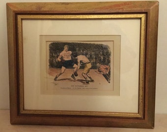 Boxing, Tattoo Fan, Boxing Memorabili, Vintage Framed Print, Present for Boyfriend,Boxing,Tattoo Lovers, Iconic Punch Magazine, Fathers Day