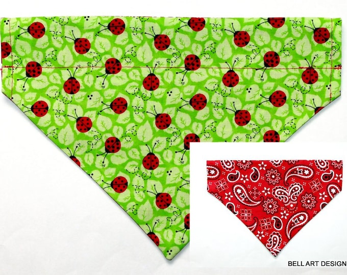 LADY BUGS ~ Over the Collar ~ Reversible ~ Dog Pet Bandana ~ Bell Art Designs ~ Large ~ DCL0629