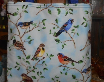 Backyard Song Birds Tote Bag Summer Great Gift Book Lunch bag Handmade Purse