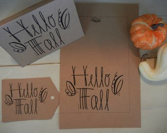 Printable matching Hello Fall Leaf card and gift tag set, rustic craft fall card, Instant Download, Colorable, diy, Hand Lettered