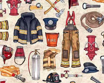 Fire Fighter Fabric / 5 Alarm / Firemen Fabric Fabric by Quilting Treasures 26294 Fire Trucks Fat Quarters & By The Yard