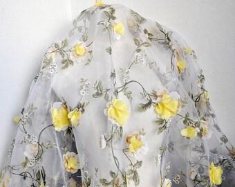 "3D Yellow Chiffon Floral Lace Fabric Organza Fabric Exquisite Bridal Wedding Headband 51.1"" width 1 yard"