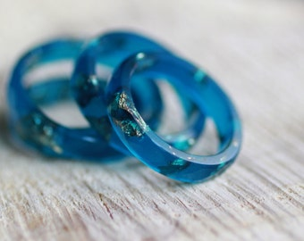 Resin Ring Apatite - resin ring, faceted stackable ring, gold flakes jewelry, teal ring, turquoise ring