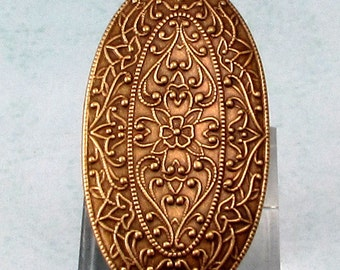 Brass Ox Embossed Oval Boho Pendant, AB152