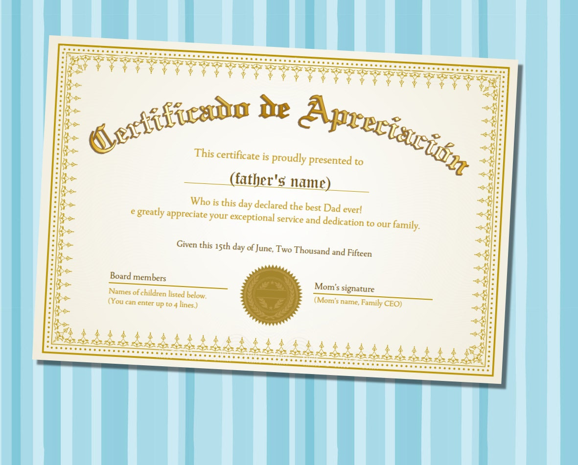 Fathers day certificate of appreciation spanish version zoom yadclub Image collections