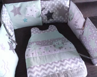 ON order/production within 10 days-round green bed of water clear/white/gray star dots