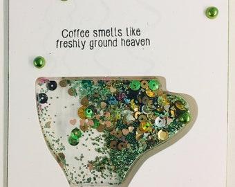 Coffee themed shaker card