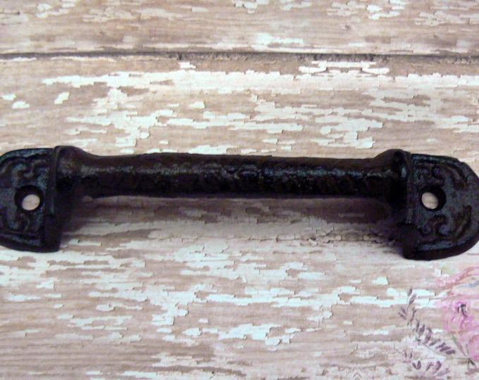 Gate Pantry Door Fleur Square End Handle Pull Cast Iron Unpainted Paris Chic DIY