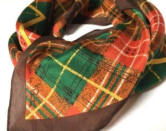 Vintage Oscar de la Renta ~ Silk Square Scarf ~ Fall Colours ~ Plaid Scarf ~ Brown Plaid ~ Fall Fashion ~ Silk Scarf ~ Tartan Scarf