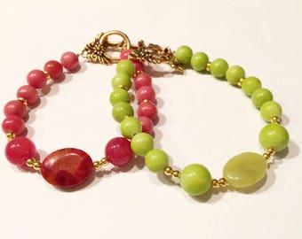 Gemstone bracelets, red jade, red agate, red coral bracelet. green jade bracelet, simple and elegant, golden beads, trendy jewelry, gift