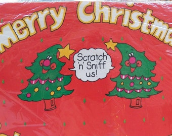 Vintage SCRATCH 'N' SNIFF Christmas Gift Wrap 750 sq inches/1 jumbo sheet