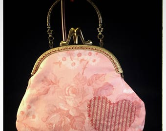 Large Kiss-Lock Purse Handbag with Hand-Applique - Vintage, Victoriana, Bridal 3049