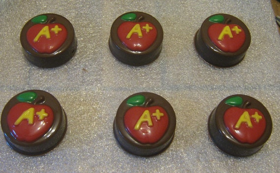 One dozen A plus apple chocolate covered sandwich cookie teacher gift party favor