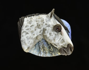 XL. Misty - Dapple Grey Horse - Flamework Glass Focal Pendant Bead - Sculpture