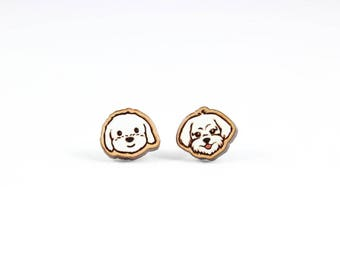 Maltese Dog Stud Earrings - Hand Painted Laser Cut Engraved Wood with Non Allergenic Surgical Steel Backs - Pet Dog Animal Lover Jewelry