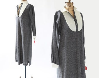 Vintage 70s blue pin striped cotton Tuxedo T shirt midi dress S