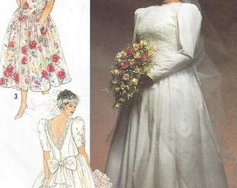 90s Jessica McClintock Womens Brides and Bridesmaid Dresses Simplicity Sewing Pattern 9674 Size 26 28 30 32 Bust 48 50 52 54 UnCut Plus Size