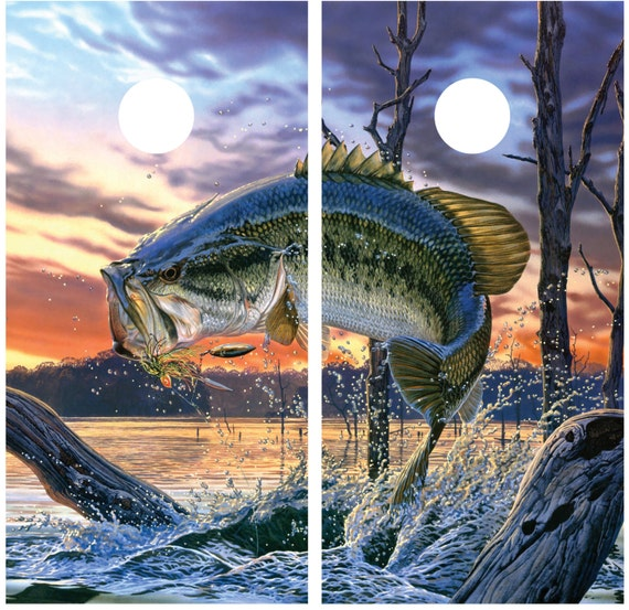 Bass Jumping Fishing Cornhole Decal Wrap Full Image