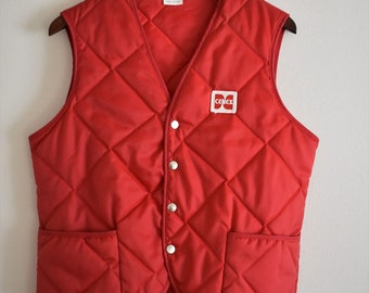 1970's Vintage Red Cenex Puffy Vest | Men's Medium Women's Large