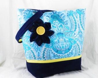 Shoulder Bag, Amy Butler Tote, Free Spirit, Handmade Library Bag