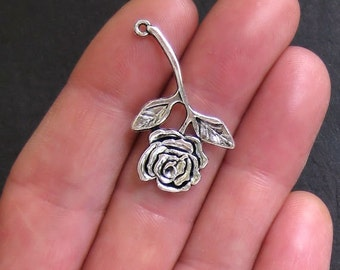 6 Rose Charm Antique  Silver Tone Long Stemmed - SC399
