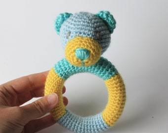 READY TO SHIP- Crochet Bear Rattle, Amigurumi, stuffed animal toy, stuffed bear, baby toy