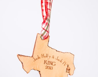 Texas State Shape Christmas Ornament Texas Ornament State Shape Christmas Longhorns Ornament Ornament Leather Ornament Personalized Gift