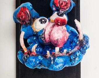 Blue Mousefinkk Original Monster Head Trophy sculpture