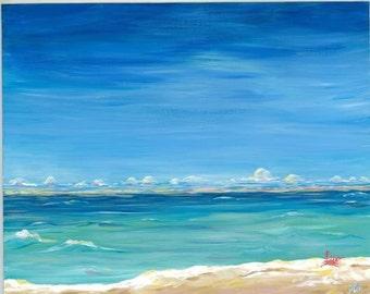 Art Print- beach- ocean- blue sea crab 12x18