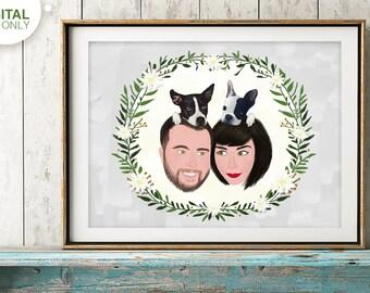 Custom portrait of couple, Custom couple illustration, personalized portrait, anniversary gift, wedding gift, Family portrait, Portrait pet