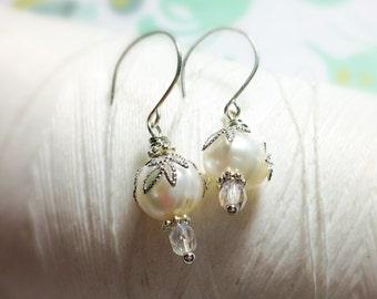 HALF PRICE Leaf It To Me - white pearl earrings / silver leaf earrings / pearl earrings / bridal jewelry / leaf earrings / pearl earings