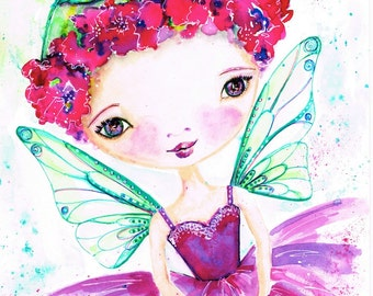 Rosie, Flower Fairy, Painting, Watercolour, Whimsical, Cute