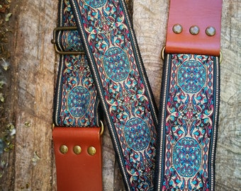 Guitar Strap << Guitar Strap in Vintage and Folk Style >> Mythical Guitar Strap 60s << For acoustic, electric, bass guitar